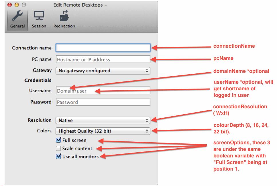 Create a Microsoft Remote Desktop 8 Connection GUI Explain