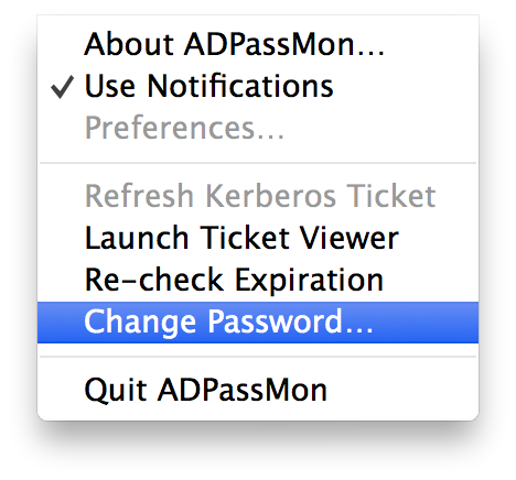 Change Password MenuBar